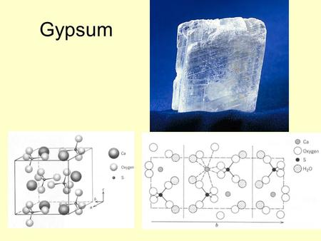 Gypsum. Sulfate Minerals More than 100 different minerals, separated into hydrous (with H 2 O) or anhydrous (without H 2 O) groups Gypsum (CaSO 4 *2H.