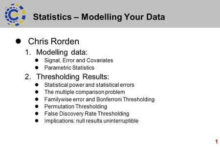Statistics – Modelling Your Data