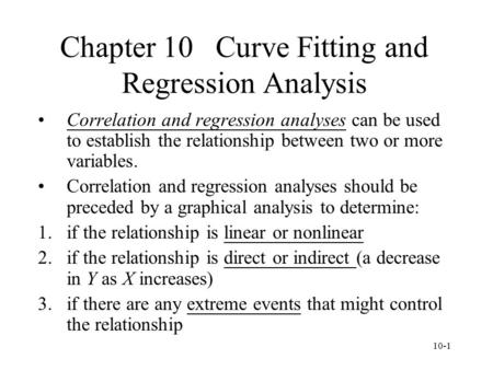 Chapter 10 Curve Fitting and Regression Analysis