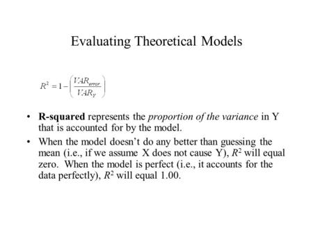 Evaluating Theoretical Models R-squared represents the proportion of the variance in Y that is accounted for by the model. When the model doesn't do any.