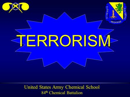 United States Army Chemical School 84 th Chemical Battalion TERRORISM.