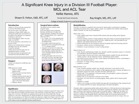 Introduction Athlete is a 20 year old male running back in a division III football program No previous injury to the right knee Mechanism of injury (MOI):