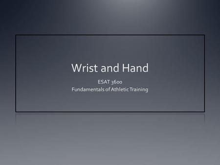 ESAT 3600 Fundamentals of Athletic Training