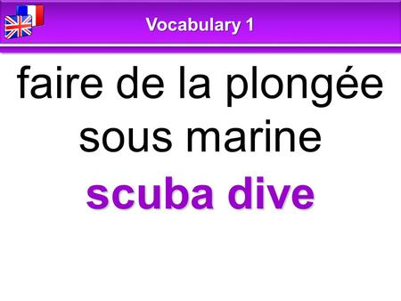 Scuba dive faire de la plongée sous marine Vocabulary 1.