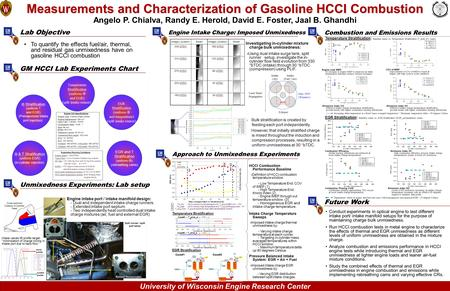 University of Wisconsin Engine Research Center Future Work Approach to Unmixedness Experiments Measurements and Characterization of Gasoline HCCI Combustion.