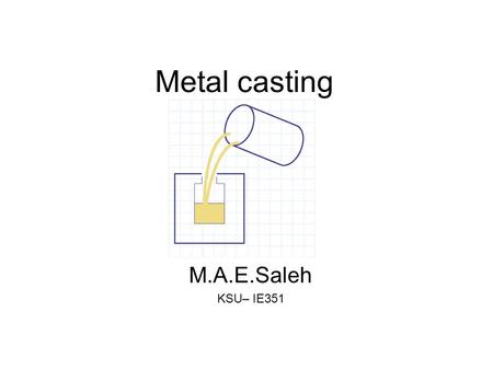 Metal casting M.A.E.Saleh KSU– IE351. Sand Casting High Temperature Alloy, Complex Geometry, Rough Surface Finish Investment Casting High Temperature.