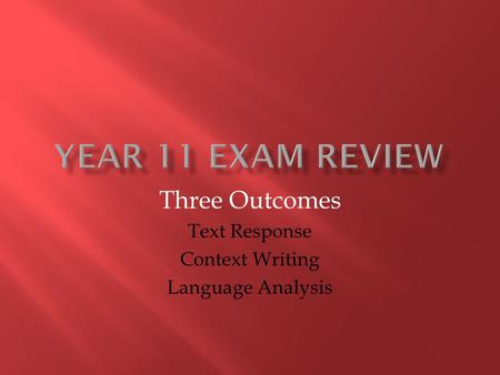 vce outcome 3 language analysis essay The school for excellence 2017 succeeding in the vce – unit 3 english   essays reviews cartoons tables graphs posters newsletter brochure   often the language used is colourful and they tend to make a good source for this  sac.