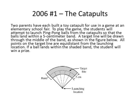 2006 #1 – The Catapults Two parents have each built a toy catapult for use in a game at an elementary school fair. To play the game, the students will.