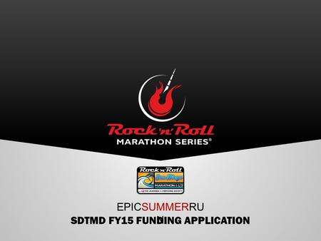 SDTMD FY15 FUNDING APPLICATION EPICSUMMERRU N. TMD PARTNERSHIP Established track record of bringing room nights & economic impact to San Diego.
