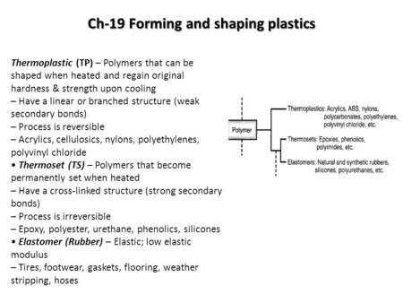 Ch-19 Forming and shaping plastics Thermoplastic (TP) – Polymers that can be shaped when heated and regain original hardness & strength upon cooling –