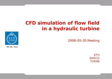 1 SEE MSc. Thesis CFD simulation of flow field in a hydraulic turbine 2008-05-20 Meeting KTH SWECO TURAB.