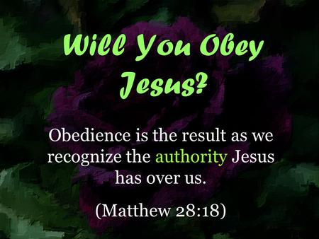 Will You Obey Jesus? Obedience is the result as we recognize the authority Jesus has over us. (Matthew 28:18)