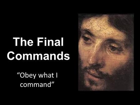 "The Final Commands ""Obey what I command"". How are you with obedience?"