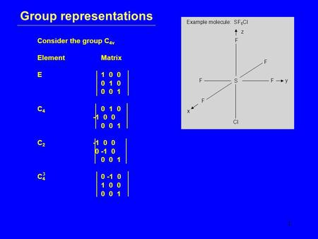 1 Group representations Consider the group C 4v ElementMatrix E1 0 0 0 1 0 0 0 1 C 4 0 1 0 -1 0 0 0 0 1 C 2 -1 0 0 0 -1 0 0 0 1 C 4 0 -1 0 1 0 0 0 0 1.