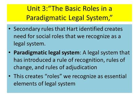 "Unit 3:""The Basic Roles in a Paradigmatic Legal System,"" Secondary rules that Hart identified creates need for social roles that we recognize as a legal."