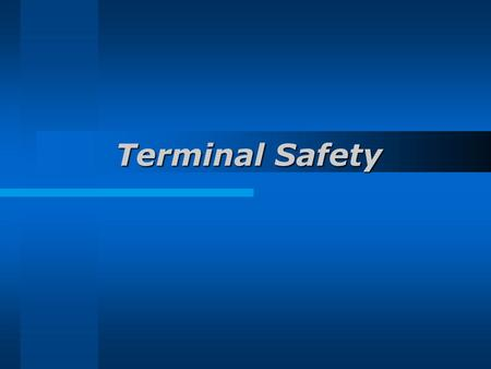 Terminal Safety. Objectives Identify main causes Outline terminal safety organization State the safe working practices.