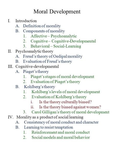 Moral Development Introduction Definition of morality