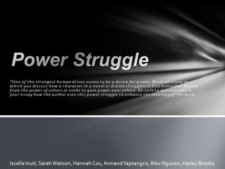 "Power Struggle ""One of the strongest human drives seems to be a desire for power. Write an essay in which you discuss how a character in a novel or drama."