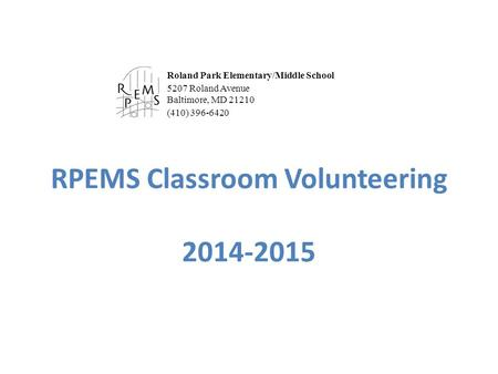 RPEMS Classroom Volunteering