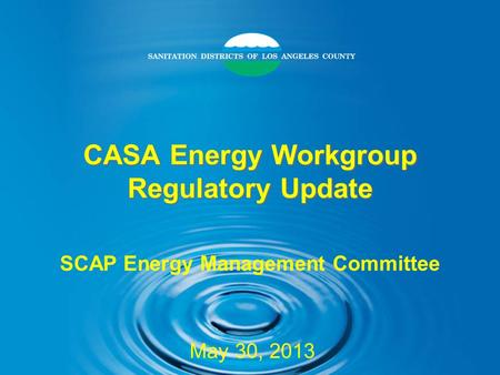 CASA Energy Workgroup Regulatory Update SCAP Energy Management Committee May 30, 2013.