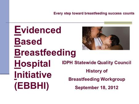 E videnced Based Breastfeeding Hospital Initiative (EBBHI) Every step toward breastfeeding success counts IDPH Statewide Quality Council History of Breastfeeding.