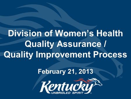 Division of Women's Health Quality Assurance / Quality Improvement Process February 21, 2013.