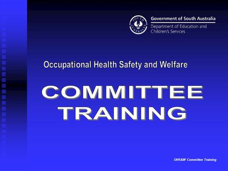OHS&W Committee Training. View notes pages for detailed information about each item. View slides and information in the current order or look at particular.