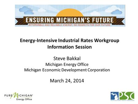 Energy-Intensive Industrial Rates Workgroup Information Session Steve Bakkal Michigan Energy Office Michigan Economic Development Corporation March 24,