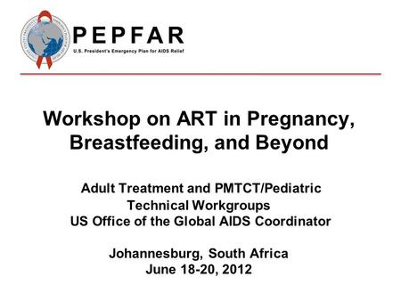 Workshop on ART in Pregnancy, Breastfeeding, and Beyond Adult Treatment and PMTCT/Pediatric Technical Workgroups US Office of the Global AIDS Coordinator.