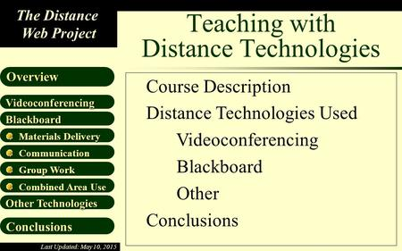 The Distance Web Project Blackboard Materials Delivery Materials Delivery Communication Communication Videoconferencing Overview Group Work Group Work.