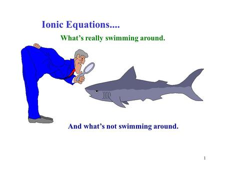 1 Ionic Equations.... What's really swimming around. And what's not swimming around.