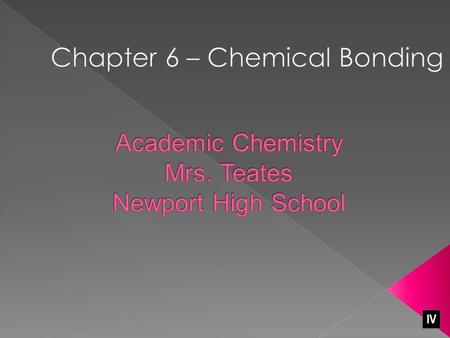 Academic Chemistry Mrs. Teates Newport High School