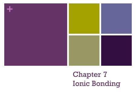 + Chapter 7 Ionic Bonding. + Bellringer Define a cation and an anion. Give one example of each. Cations Anions.