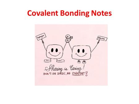 Covalent Bonding Notes. Ionic vs Covalent Bonding Ionic: electron(s) leave one atom & gained by another atom to satisfy both atoms' octets, this results.