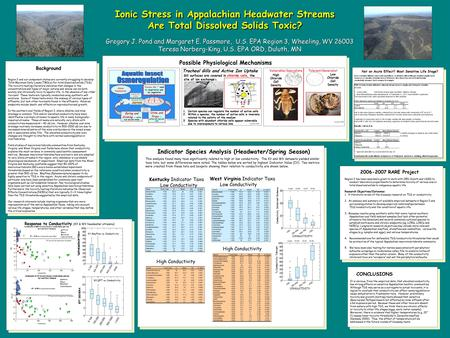 Ionic Stress in Appalachian Headwater Streams Are Total Dissolved Solids Toxic? 10 th percentile=impairment threshold Kentucky Indicator Taxa Low Conductivity.