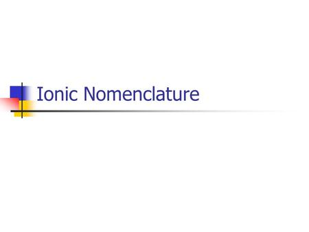 "Ionic Nomenclature Cation Defn: A positively charged particle. Name of metal+ the word ""ion"". Ex. Potassium Potassium Ion."