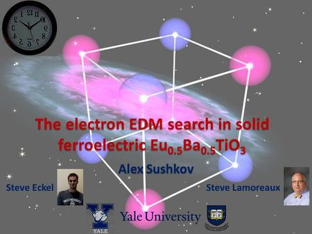 The electron EDM search in solid ferroelectric Eu 0.5 Ba 0.5 TiO 3 Alex Sushkov Steve EckelSteve Lamoreaux.