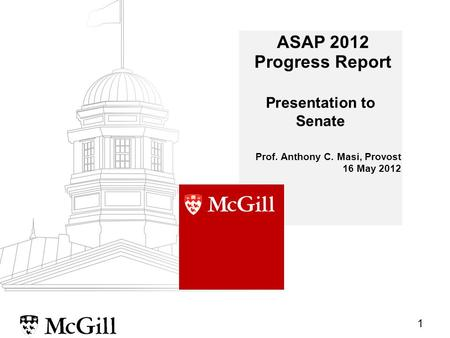 1 ASAP 2012 Progress Report Prof. Anthony C. Masi, Provost 16 May 2012 Presentation to Senate.