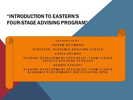 """INTRODUCTION TO EASTERN'S FOUR-STAGE ADVISING PROGRAM"" PRESENTED BY: SUSAN HEYWARD DIRECTOR, ACADEMIC ADVISING CENTER CHRIS DREWRY STUDENT DEVELOPMENT."