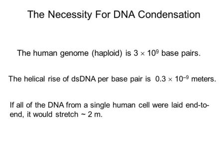 The Necessity For DNA Condensation The human genome (haploid) is 3  10 9 base pairs. The helical rise of dsDNA per base pair is 0.3  10 –9 meters. If.