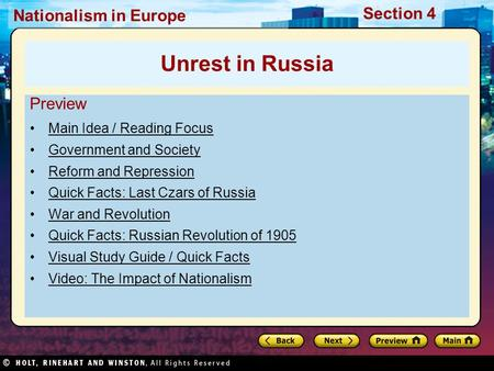 Nationalism in Europe Section 4 Preview Main Idea / Reading Focus Government and Society Reform and Repression Quick Facts: Last Czars of Russia War and.