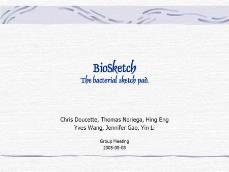 BioSketch The bacterial sketch pad. Chris Doucette, Thomas Noriega, Hing Eng Yves Wang, Jennifer Gao, Yin Li Group Meeting 2005-08-08.