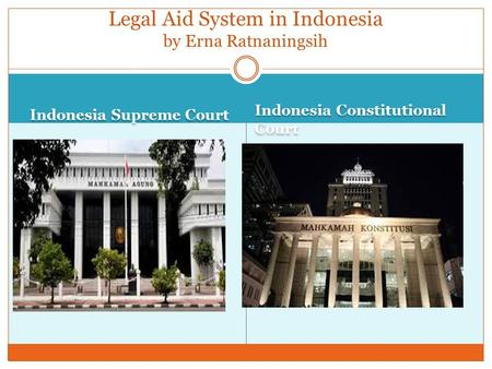 Indonesia Supreme Court Indonesia Constitutional Court Legal Aid System in Indonesia by Erna Ratnaningsih.