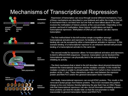 Mechanisms of Transcriptional Repression