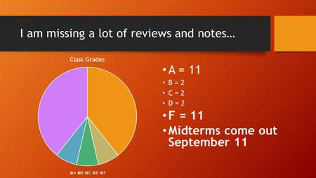 I am missing a lot of reviews and notes… A = 11 B = 2 C = 2 D = 2 F = 11 Midterms come out September 11.