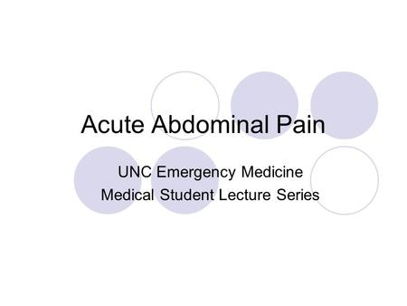 UNC Emergency Medicine Medical Student Lecture Series
