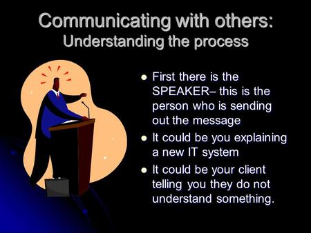 Communicating with others: Understanding the process First there is the SPEAKER– this is the person who is sending out the message First there is the.
