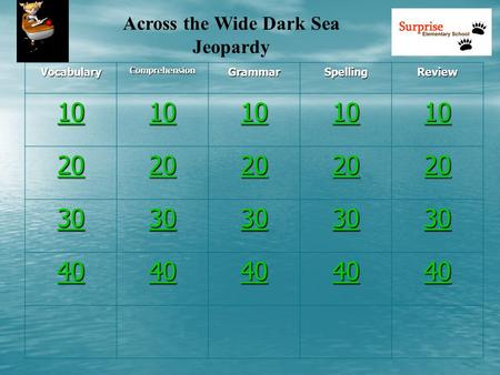 Across the Wide Dark Sea Jeopardy VocabularyComprehensionGrammarSpellingReview 10 20 30 40.