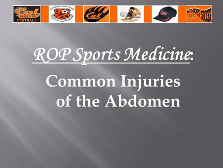 ROP Sports Medicine : Common Injuries of the Abdomen.