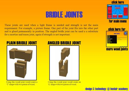 Design & boclair academy BRIDLE JOINTS click here for more wood joints PLAIN BRIDLE JOINT click here for main menu These joints are used when.